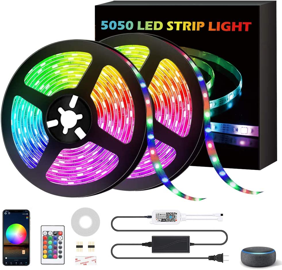 Led Strip Lights 32.8ft,AOBISI 300Leds 16 Million Color Changing RGB Led Strip Lights for Bedroom with Remote and App,Supply Sync to Music with Alexa,Google Home for Home Decoration Bar TV Kitchen