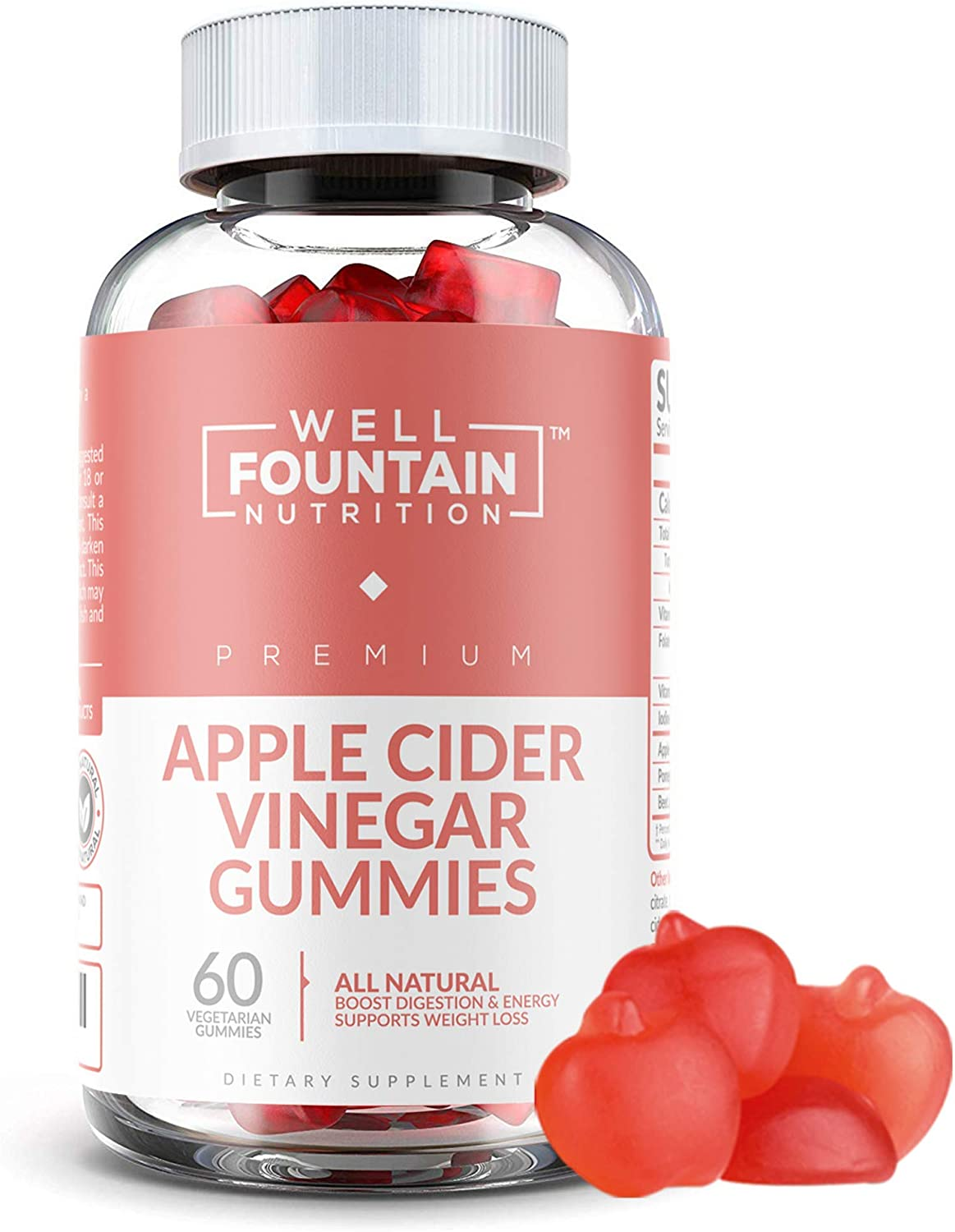 Apple Cider Vinegar Gummies - Extra Strength Organic ACV with The Mother, Vitamin B12 & B6 for Energy & Mood Boost - Vegan ACV Gummies Supports Detox, Cleanse, Acid Reflux, Weight Control & Immunity