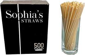 Natural Straws made out of Hay by Sophia's Straws 7.5 inch I 500 Straws - All natural, eco-friendly and disposable Hay Straws