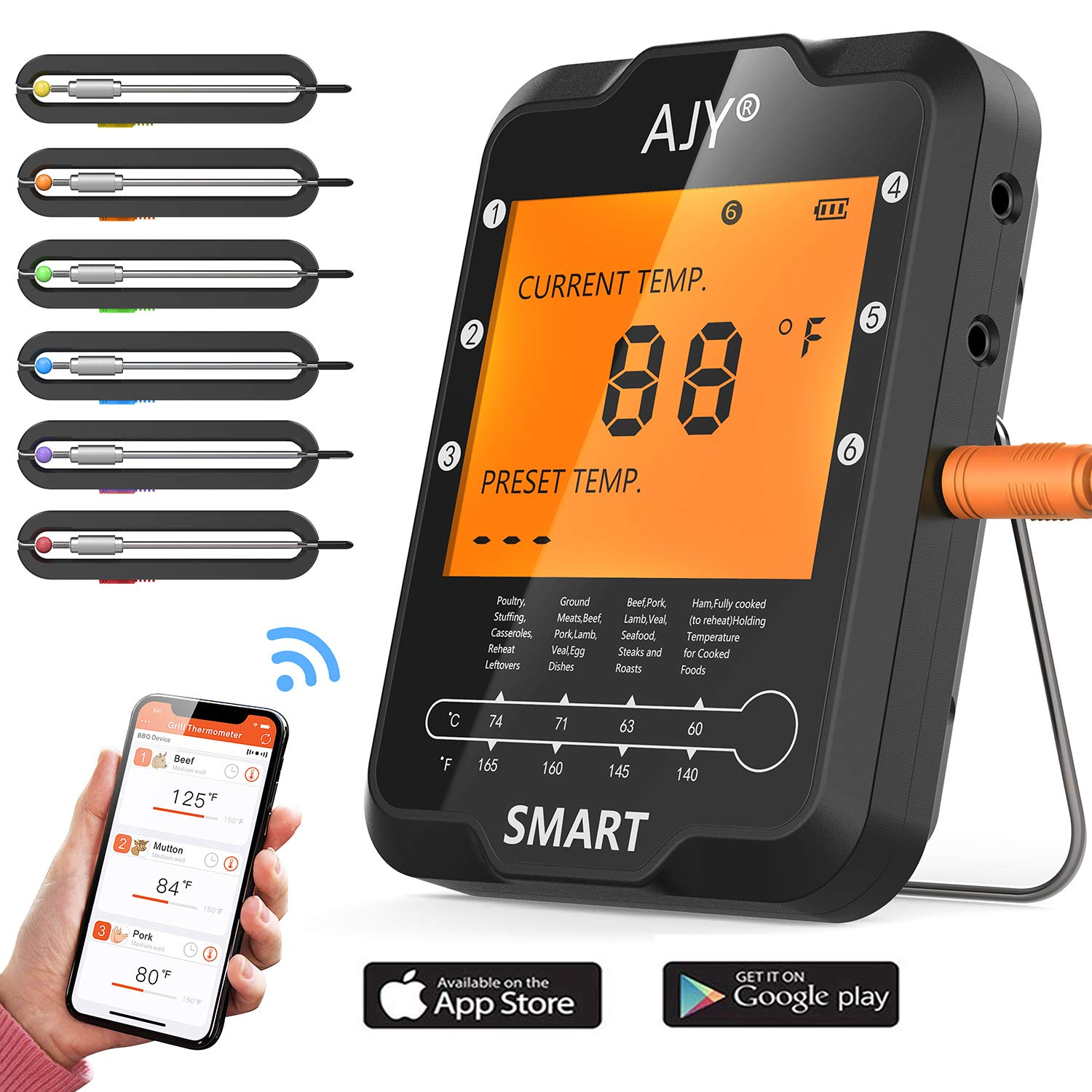 BBQ Meat Grill Thermometer,Smart Bluetooth Wireless Remote Digital Cooking Food Meat Thermometer with 6 Probe for Smoker Grill BBQ Thermometer support ios & Android, 328Feet. by AJY