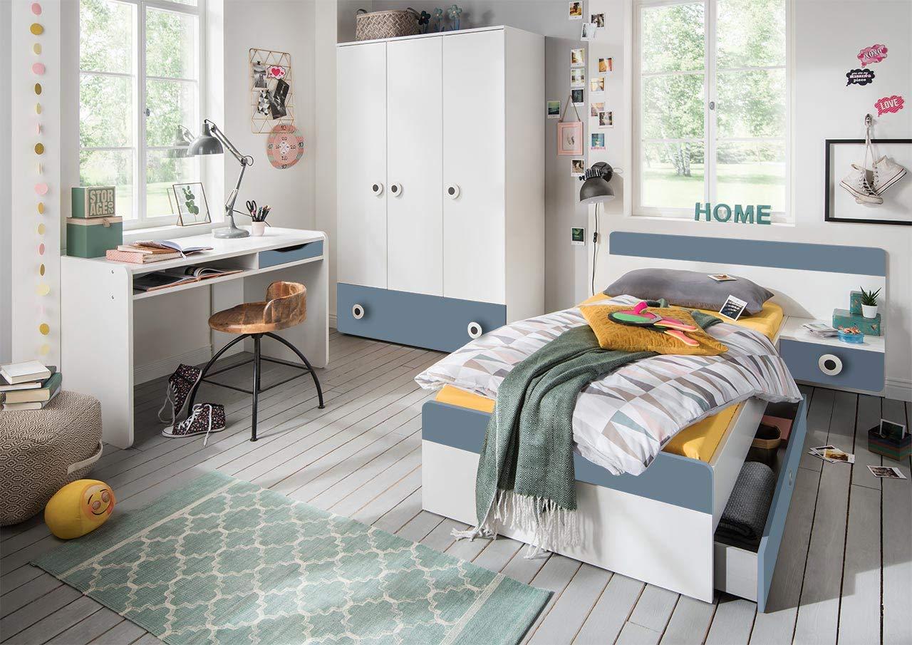lifestyle4living Jugendzimmer Komplett-Set in weiß und hellblau, modernes Kinderzimmer für Jungen, 3-TLG. zeitlos
