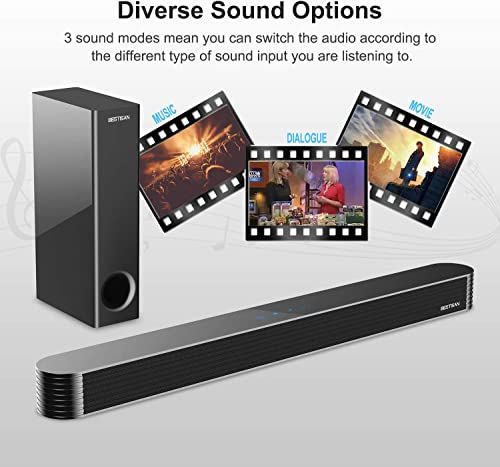 Sound Bar, Bestisan TV Sound Bar with Wired Subwoofer, 120W 2.1 Soundbar, Wired Wireless Bluetooth 5.0 Speaker for TV, 25 Inch, Optical Aux Coaxial, Bass Adjustable Surround Sound for Home Theater