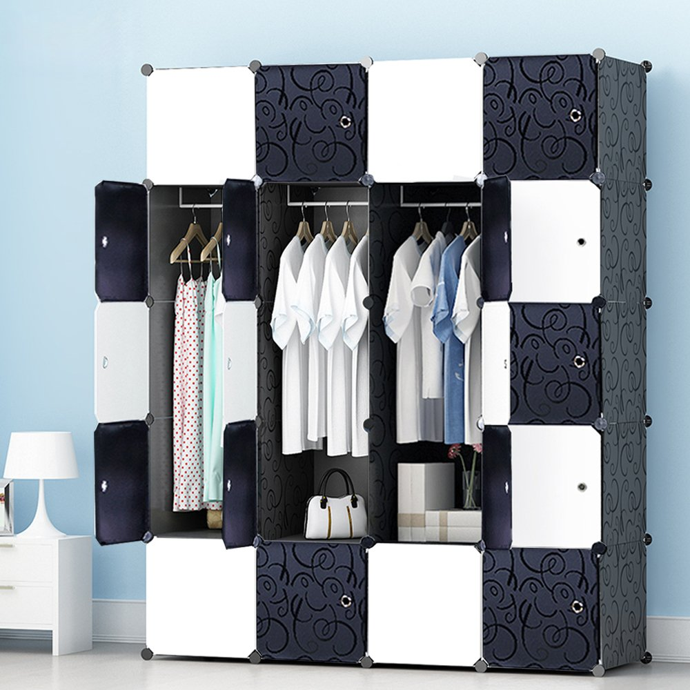 MEGAFUTURE Portable Wardrobe for Hanging Clothes, Wall Décor, Combination Armoire, Modular Cabinet for Space Saving, Ideal Storage Organizer Cube for books, toys, towels(20-Cube) by JOISCOPE
