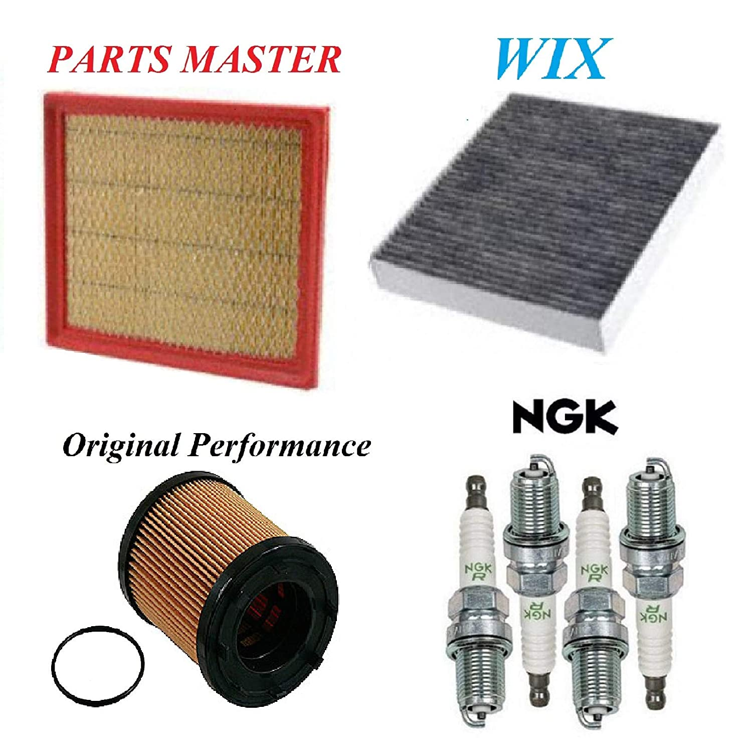 Tune Up Kit Air Cabin Oil Filters Spark Plugs for CHEVROLET MALIBU L4 2.4L 2013-2014