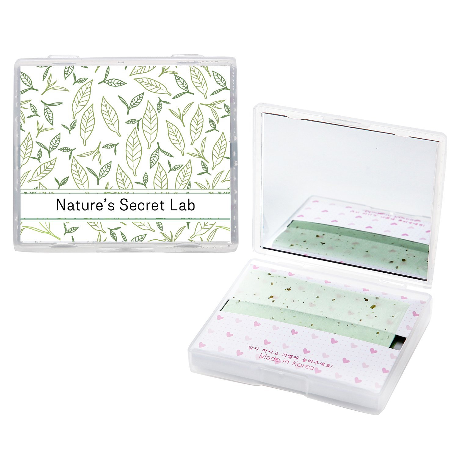 [200 Counts + Mirror Case] Face Oil Blotting Paper Sheets with Makeup Mirror - Green Tea Oil Absorbing Sheets made in Japan Nature' s Secret Lab
