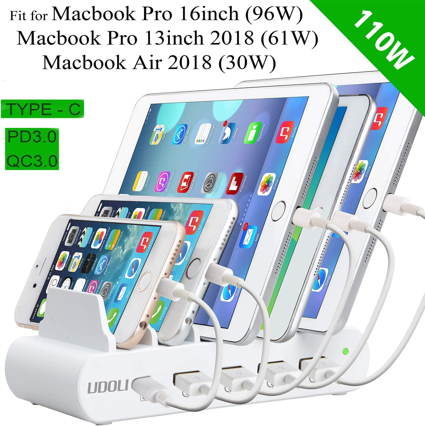 iPad Pro USB PD 3.0 Charging Stand Organizer for USB-C Laptops MacBook Pro//Air iPhone 11//Pro//Max USB Charging Station Dock S10 S9//S8 and More 4-Port Fast Charging Station Desktop Charger