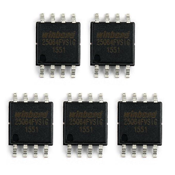 Areyourshop 5Pcs WINBOND W25Q64FVSSIG W25Q64FVSIG 25Q64FVSIG SOP-8 IC Chips  FLASH