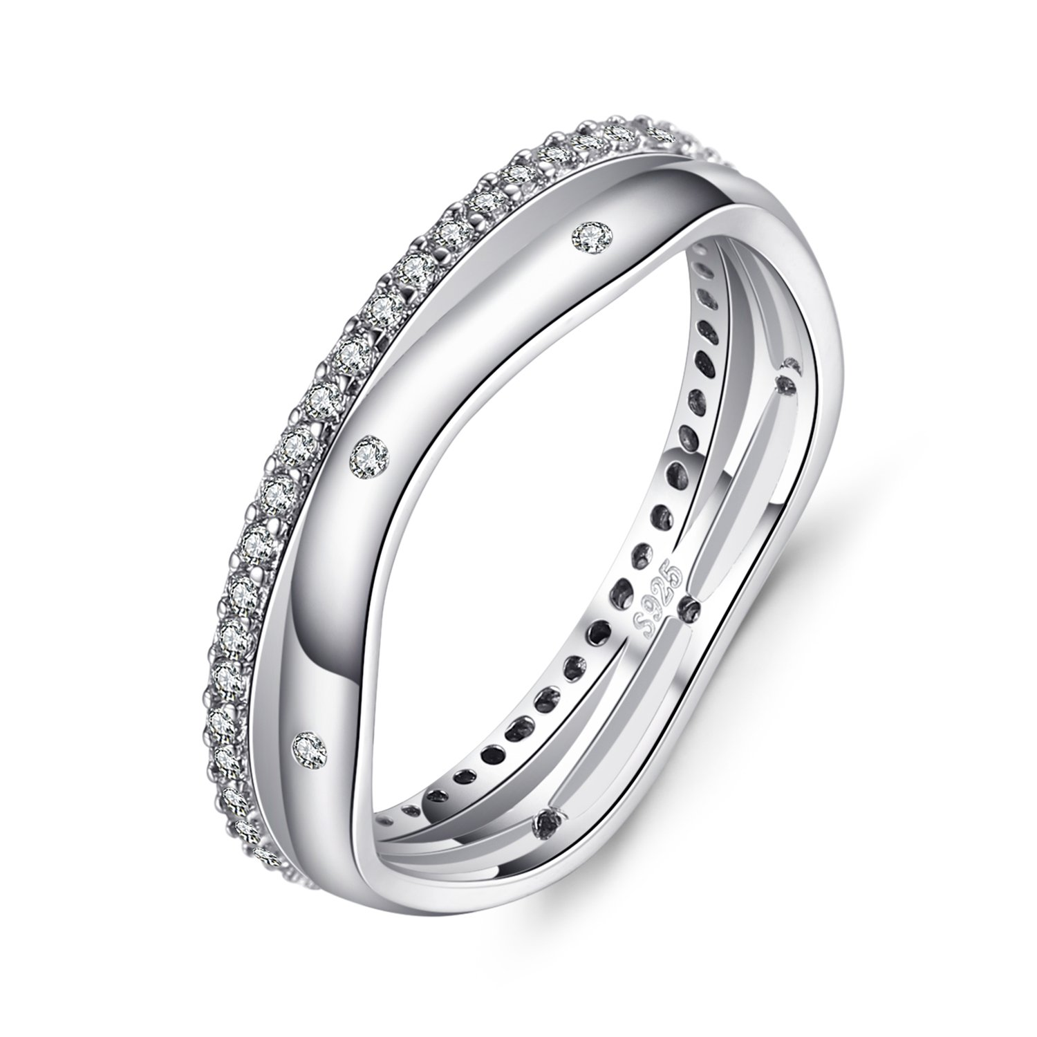 JewelryPalace Women's Cubic Zirconia 925 Sterling Silver Wedding Band Anniversary Engagement Ring BR474599