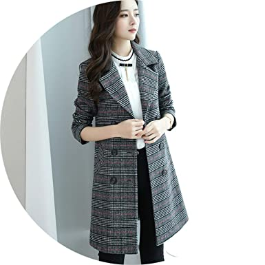 8f2a6245025 Amazon.com: 2018 New fashiong Women Autumn Winter Long Plaid Woolen ...