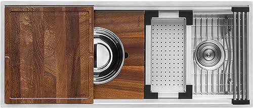 Ruvati 57-inch Workstation Ledge Kitchen Sink Undermount 16 Gauge Stainless Steel – RVH8555