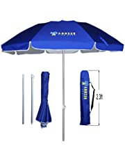 AMMSUN 6.5ft Portable Folded Beach Umbrella Fits in Suitcase with Tilt Silver Coating Inside UV Protection Stripe for Sun and Outdoor
