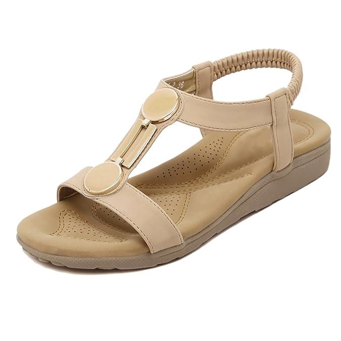 De las mujeres Zapatos planos sandalias De estilos de ocio abrochados 7kbJs