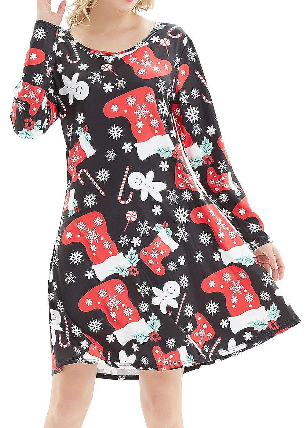 Dutebare Women Christmas Long Sleeve Dresses Santa Claus Flowy A-Line Tunic Dress