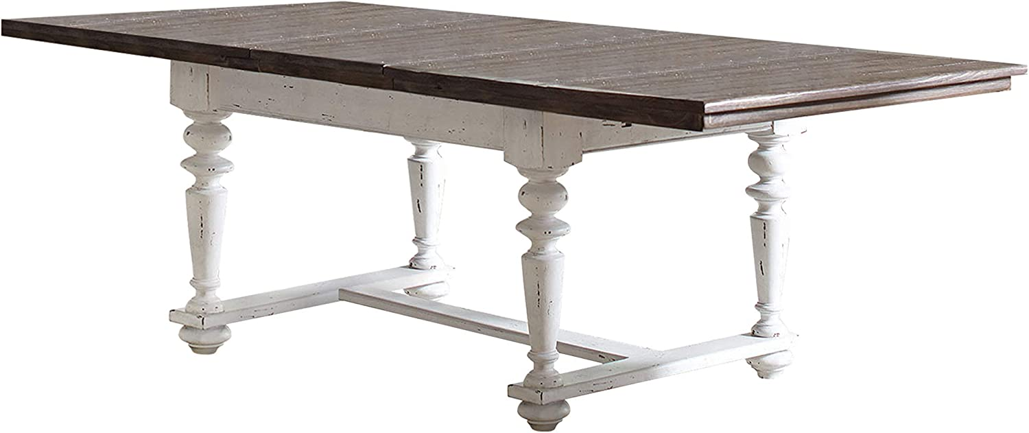 """Coaster Home Furnishings Simpson Rectangular White and Vintage Latte Dining Table, 30"""" H x 44"""" W x 100"""" D, Brown"""
