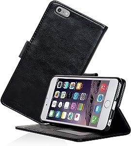 Navor Protective Flip Wallet Case for iPhone 6S Plus & iPhone 6 Plus [5.5 inch] - Black (IP6PBK)