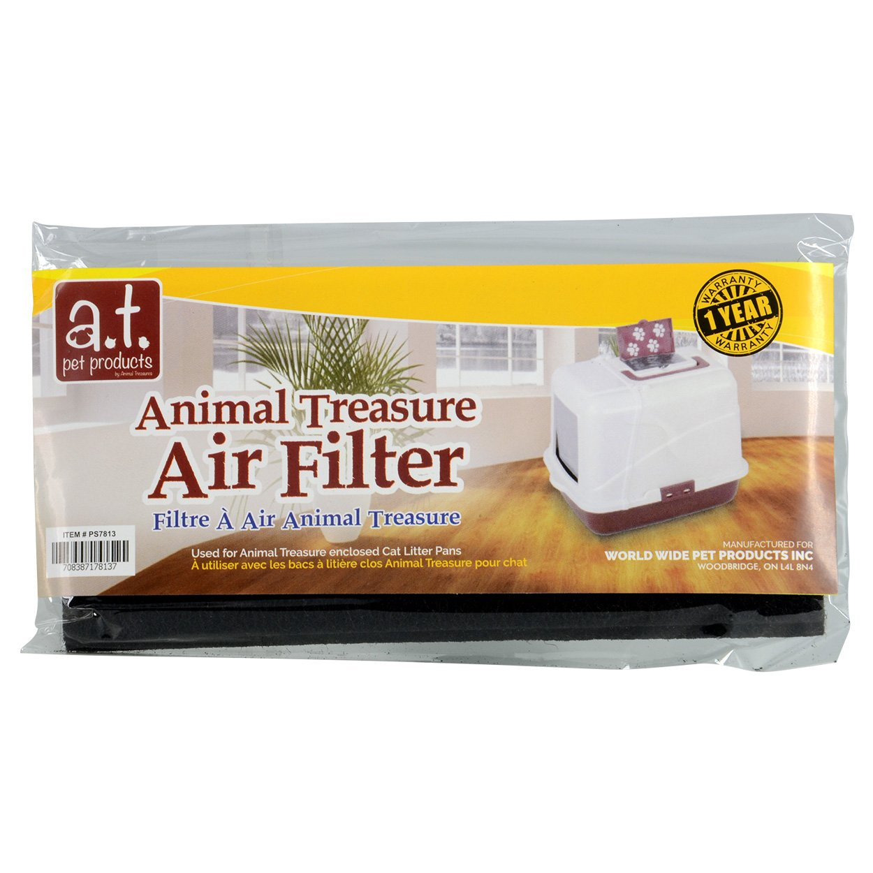 Animal Treasures Replacement Air Filter for Hooded Litter Pan, 2pk