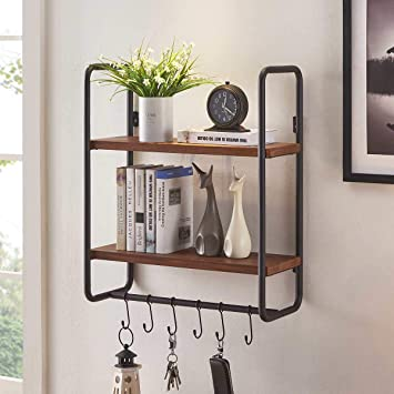 BON AUGURE 2 Tier Floating Wall Shelves with Hooks, Rustic Entryway Hanging  Shelf, Solid Wood Coffee Shelving Unit for Kitchen, Living Room and ...