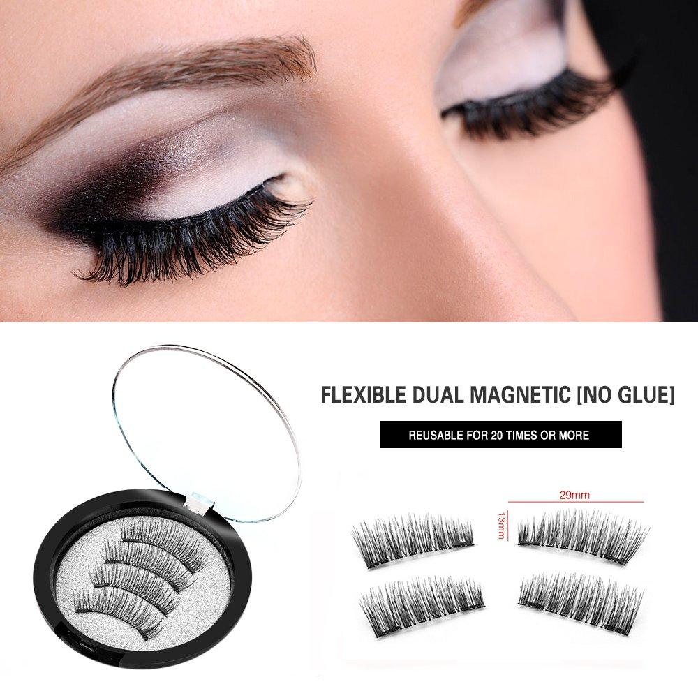 9043f10fec3 Amazon.com : Dual Magnetic [No Glue] Fake Lashes 3D Lot thick long  Crisscross False Eyelashes Fake Eye Lashes Flexible Wispy False lashes for  Beautiful ...