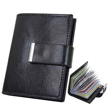 Kreditkartenetui, Hochwertiges Leder Kartenetui Mini Geldbörse RFID Schutz für Bis zu 24 Karten Portemonnaie, Card Wallet, Slim Wallet Herren und
