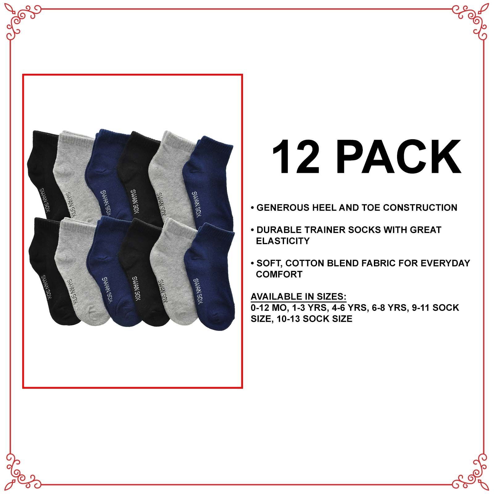 Angelina Cotton Low Cut Trainer Socks (12-Pack), 2305_GNB_4-6 by Angelina (Image #2)