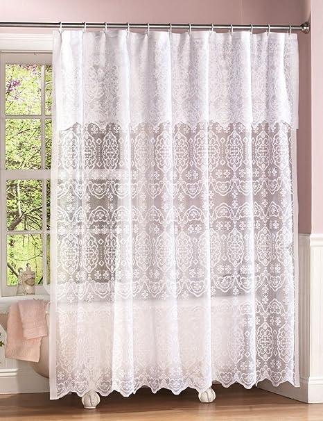 Lace Shower Curtain W Decorative Valance Amazoncouk Kitchen Home