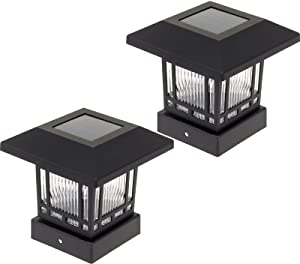 Westinghouse Solar 20 Lumens 4x4 Post Light for Wood Posts (Black, 2 Pack