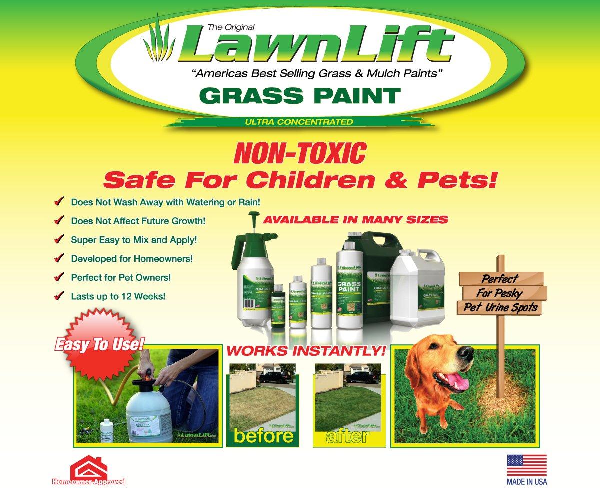 amazon com lawnlift grass and mulch paints ultra concentrated amazon com lawnlift grass and mulch paints ultra concentrated grass paint gallon green patio lawn garden