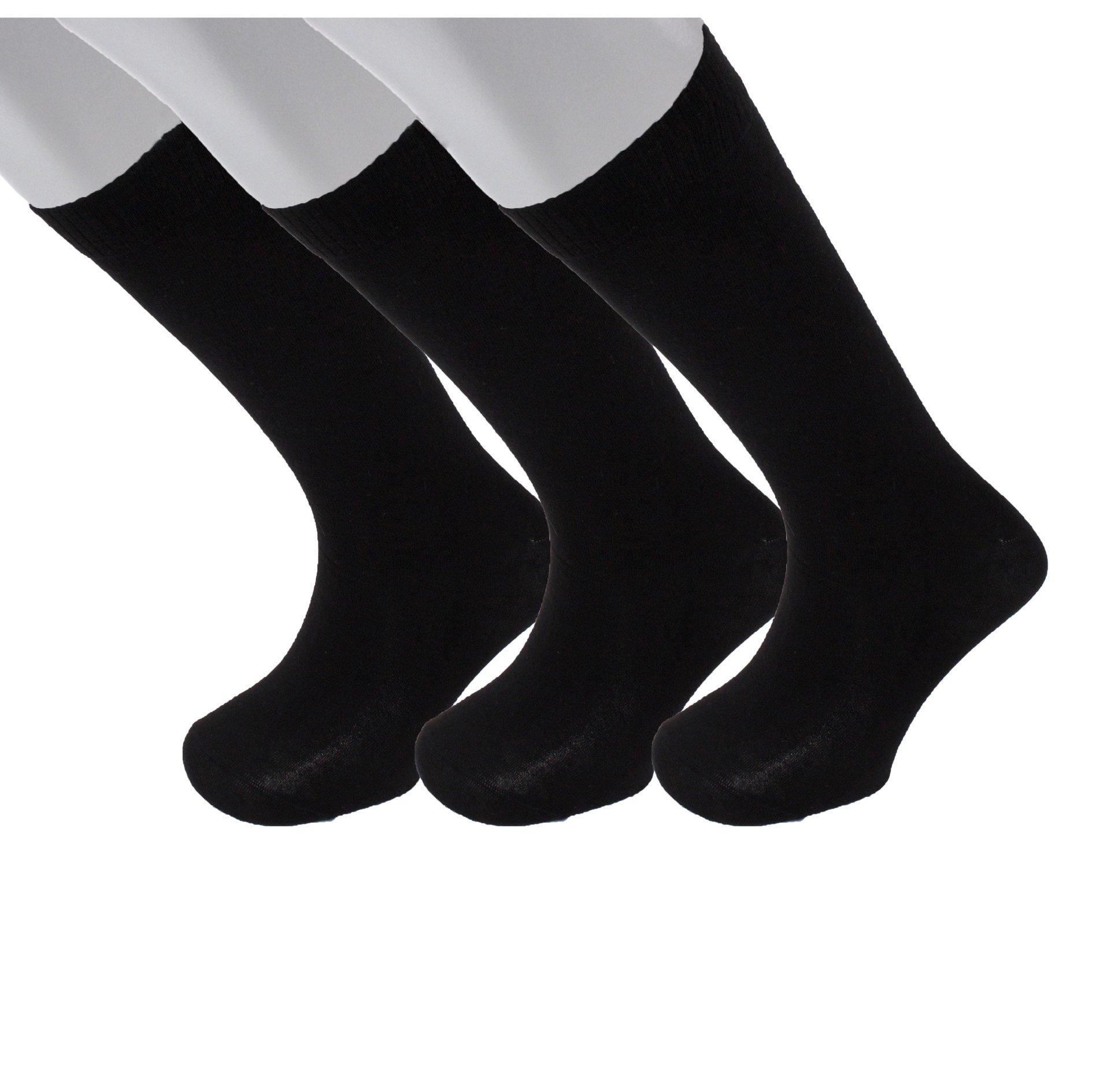 Diabetic Socks   Mens Black OTC 3 Pack   Seamless Toe   Non-Binding Top   Sock Size 10-13   Improve Foot Health Comfort Circulation for Diabetes, Edema, Flight Travel, Swollen Feet, Neuropathy