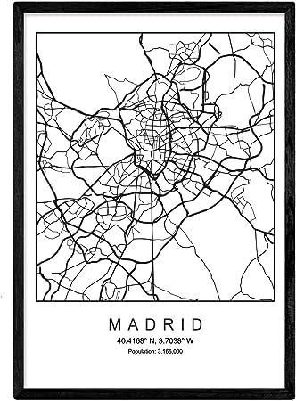 Lámina Mapa de la Ciudad Madrid Estilo nordico en Blanco y Negro ...
