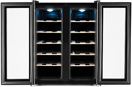 Klarstein SaloonNapa - Nevera para vino , Nevera para bebidas , Muy silenciosa , 10 Estantes , Temperatura: de 11 °C a 18 °C , 67 litros de volumen , 24 botellas de vino , Plateado