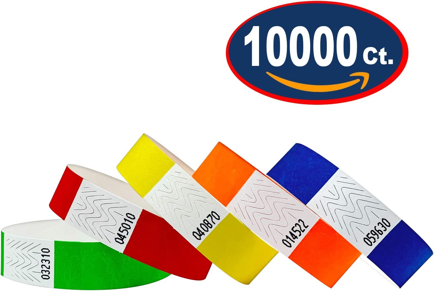 Blue Green Red Variety Pack Tyvek Wristbands 3//4 Variety Pack, 10000 Pack Paper Wristbands for Events Orange Yellow