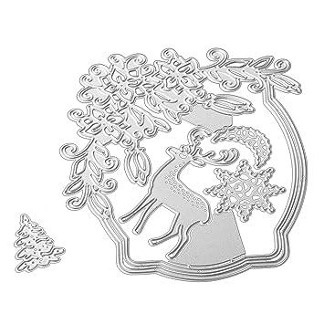 Gosear 5 Piezas de Navidad Repujado Corte Matrices Conjunto Plantillas Molde para DIY Tarjeta de Navidad álbum de Scrapbooking: Amazon.es: Hogar