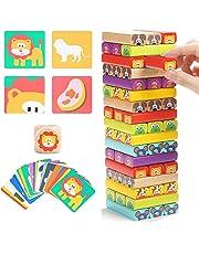 Jenga Infantil de Madera 4 en 1 con Colores y Animales – Juego de Mesa Interactivo para Niños y Niñas de 4 a 8 años – Juguete Educativo Familiar para Compartir entre Padres e Hijos