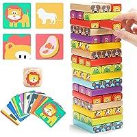 Torre de Bloques Infantil de Madera 4 en 1 con Colores y Animales – Juego de Mesa Educativo para Niños y Niñas de 4 a 8 años – Ideal como Regalo para Compartir entre Padres e Hijos