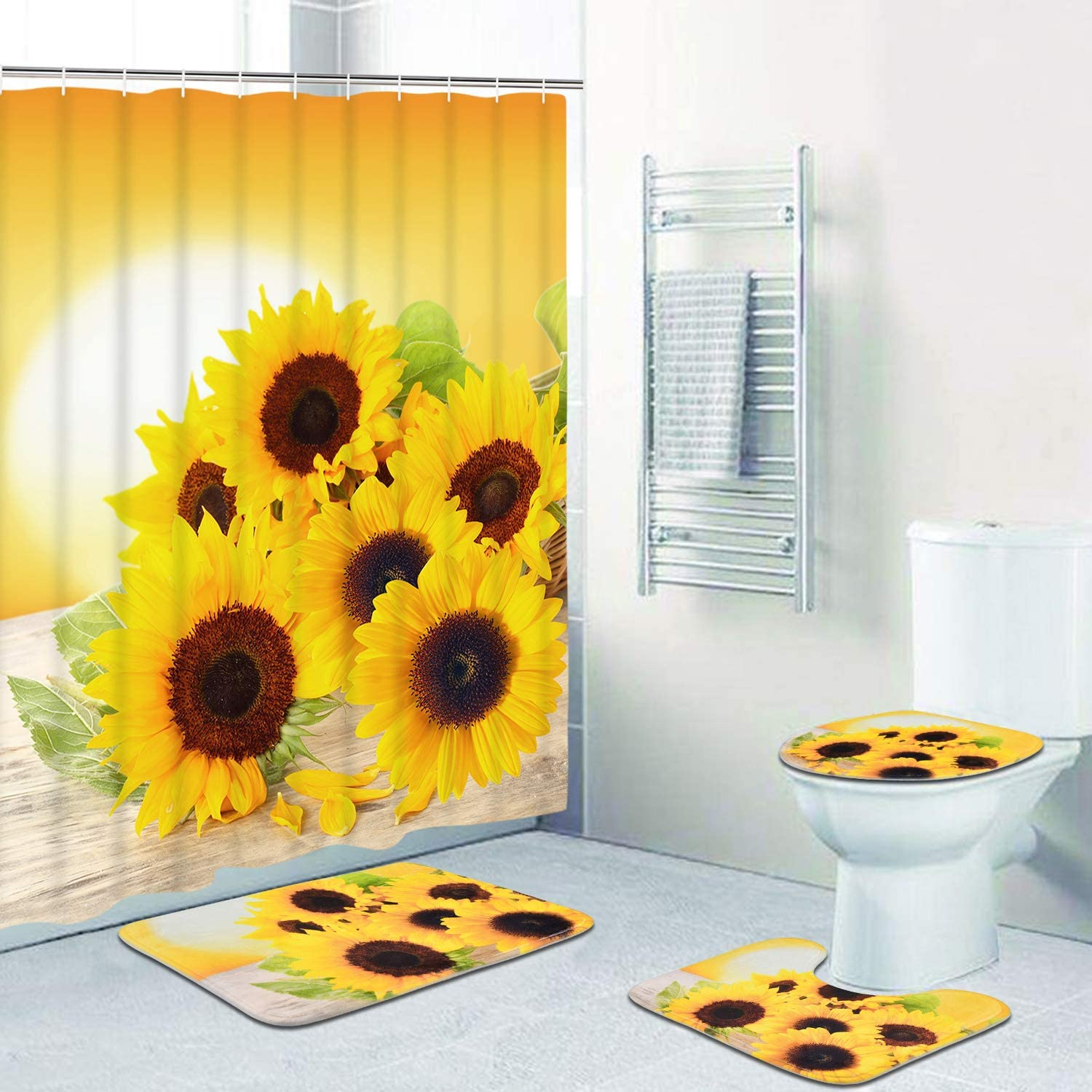 Sunflower Polyester Shower Curtain Bath Mat Anti-Slip Pedestal Rug Toilet Cover