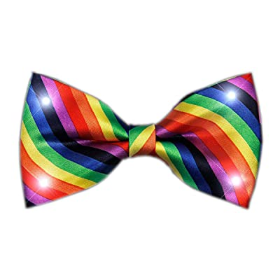 blinkee Rainbow Stripes Bow Tie with White LED Lights by: Toys & Games