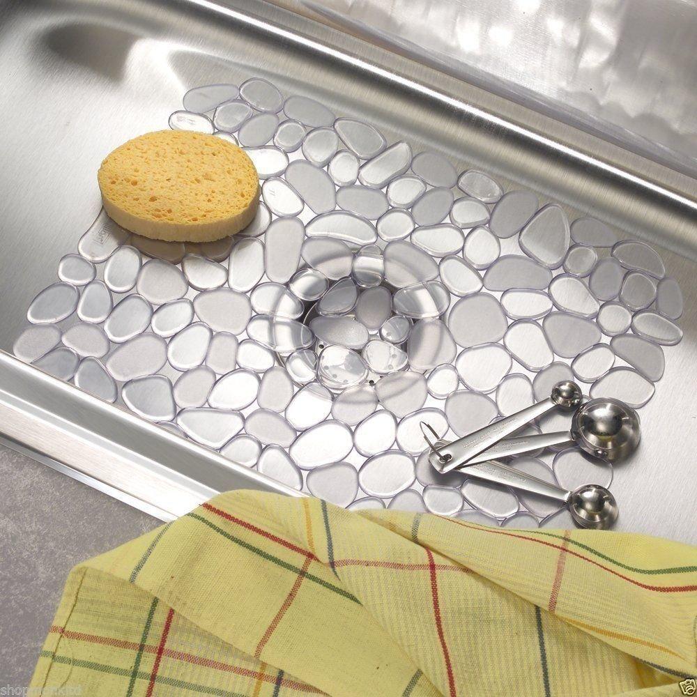 Anti-Slip Plastic Sink Mat - Pebble Design - Wipe Clean - Kitchen Dish Protector