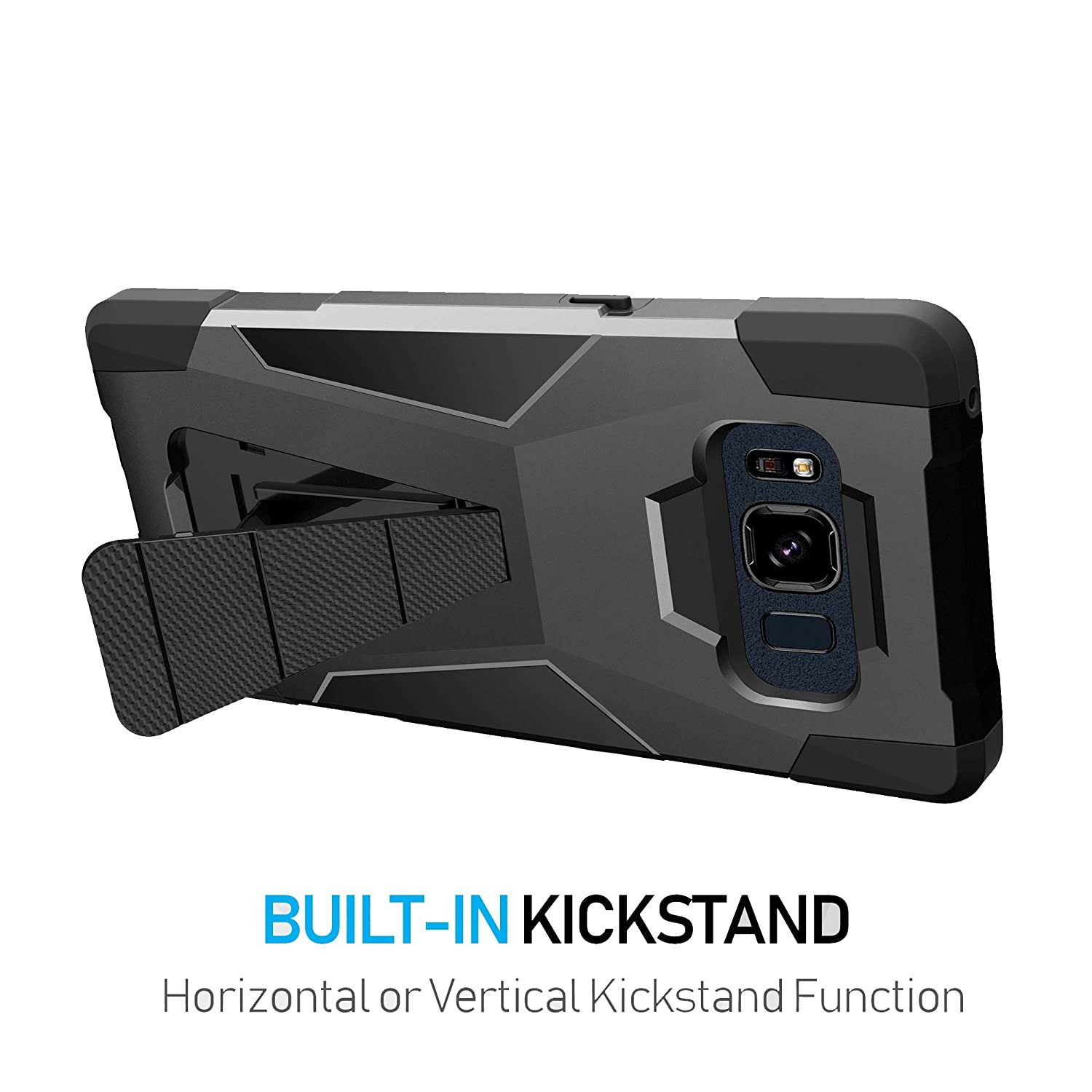 MINITURTLE Case Compatible w/Stand Case Compatible w/Samsung Galaxy S8  Active SMG892A [ Vertical/Horizontal Stand ][ DualLayer Silicone & Hard  Shell
