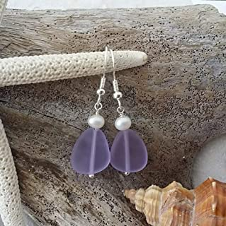 "product image for Handmade in Hawaii,""Magical Color Changing"" purple sea glass earrings, Freshwater pearl, February Birthstone, (Hawaii Gift Wrapped"