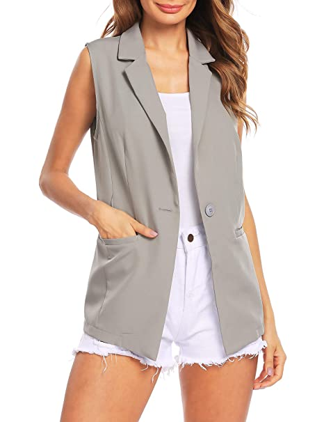 55f31b6e449b26 Zeagoo Women s Sleeveless Solid Open Front one Button Blazer with Belt  Casual Work Jacket Grey S