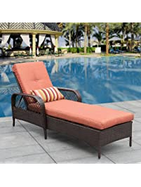 sundale outdoor luxury reclining brown wicker chaise lounge chair outdoor patio furniture allweather with
