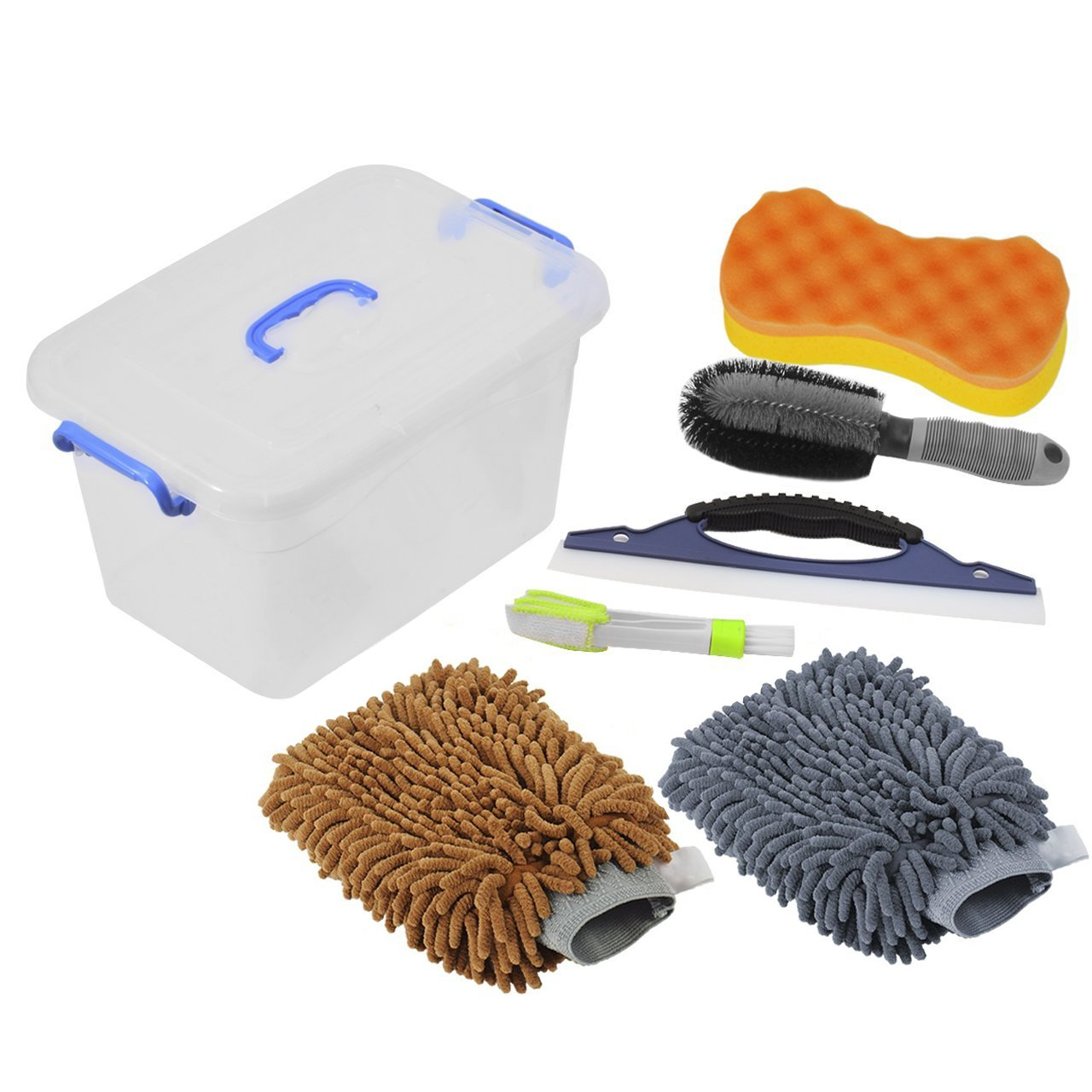 DEDC 7 Pack Car Wash Tools Kit 2 Car Wash Mitts Sponge Inside Box Bucket, Vent Brush, Water Scraper Wiper, Wheel Brush Wax Sponge Car Care Kit