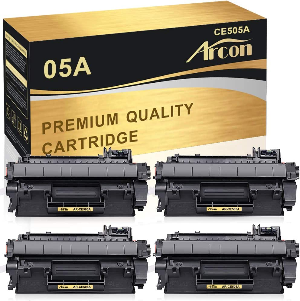 Arcon Compatible Toner Cartridge Replacement for HP 05A CE505A 05X CE505X HP P2035 P2055dn HP Laserjet P2035 P2055DN P2035N P2055D P2055X HP Laserjet P2055 P2035 2035 2055 Toner Printer (Black,4Packs)