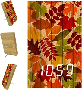 AISSO Autumn Fall Leaves on Wooden Board LED Alarm Clocks Digital for Bedrooms Kitchen Office Custom Home Decor
