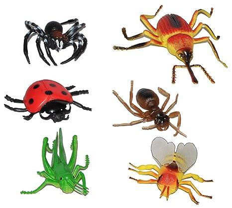 XL Insekten - 6 tlg. Set - Spinne + Grashüpfer + Biene + Marienkäfer ...