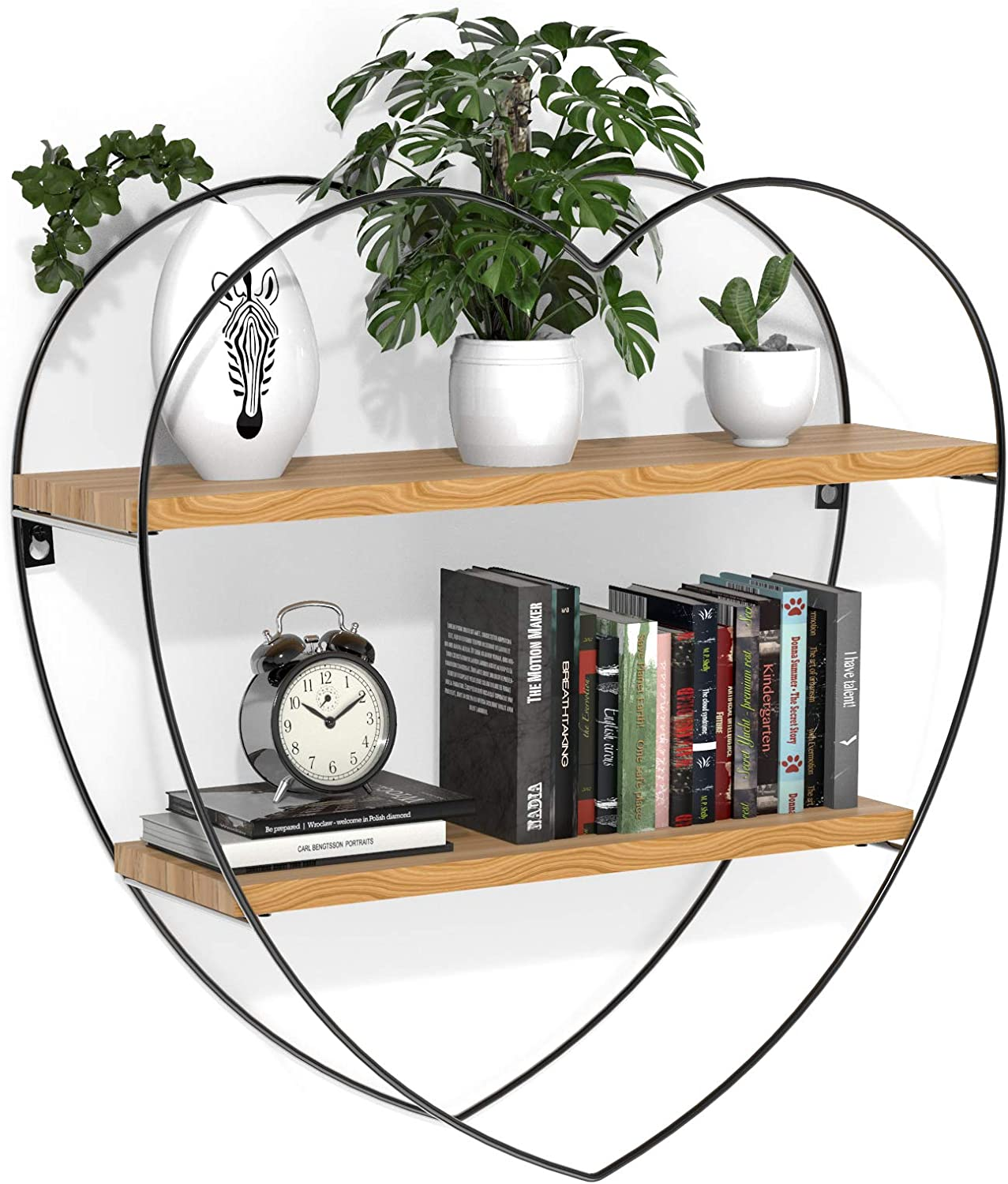 INMAN Floating Shelves for Wall, Rustic Wood Wall Shelves, Farmhouse Decorative Wood Shelves for Bathroom, Bedroom, Kitchen Decor and Storage, Metal Frame, Heart Shape