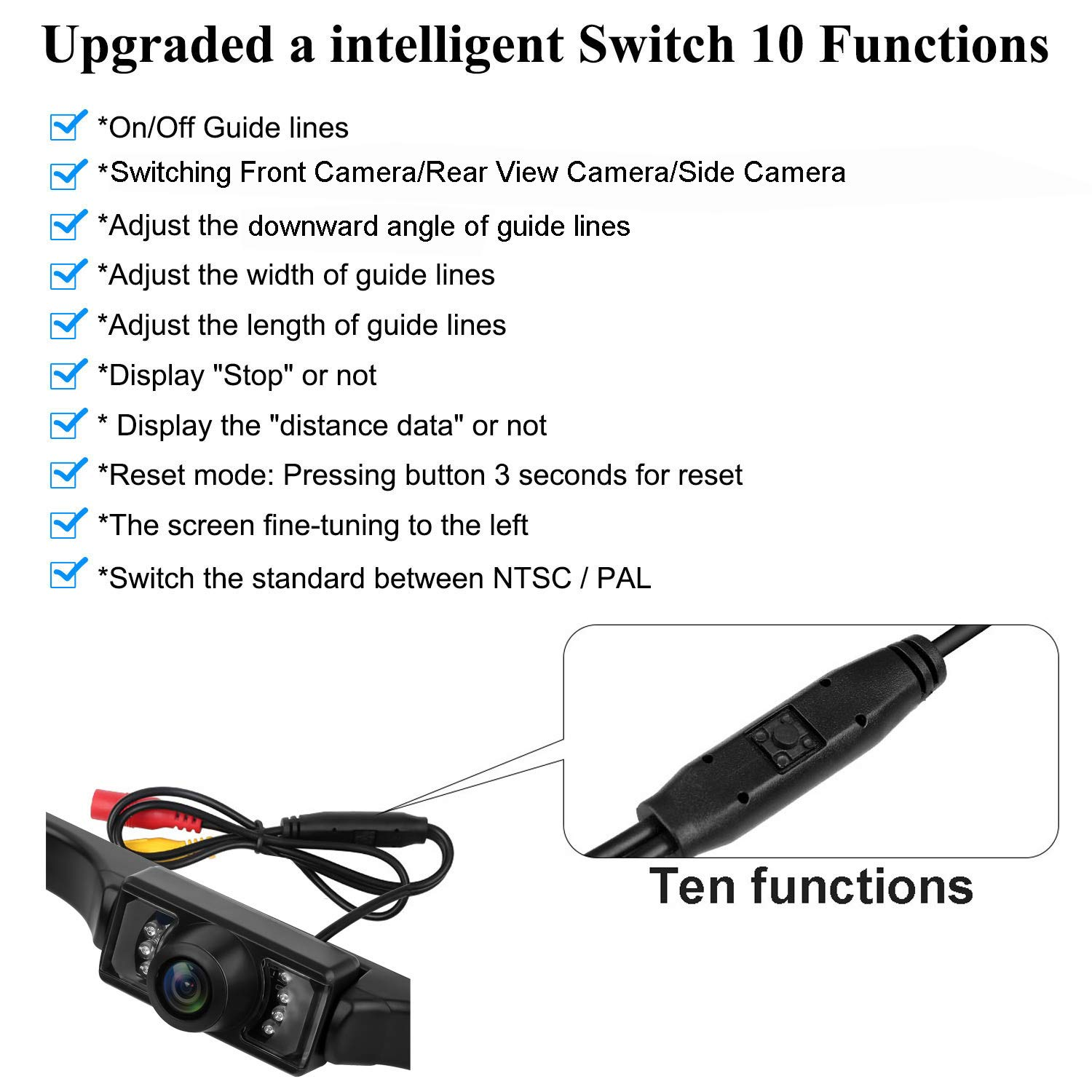 Leekooluu Backup Camera And 7 Monitor Kit For Car Truck Rover 600 Wiring Diagram Mpv Van Pickup Camper Connecting Single Power Rear View System Reverse Continuous Use