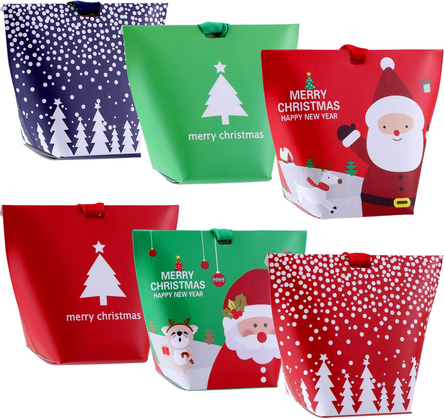 Jovitec 18 Pieces Christmas Candy Treat Boxes with Ribbons Xmas Cookie Boxes Gift Boxes with Christmas Elements Patterns for Christmas Party Favors