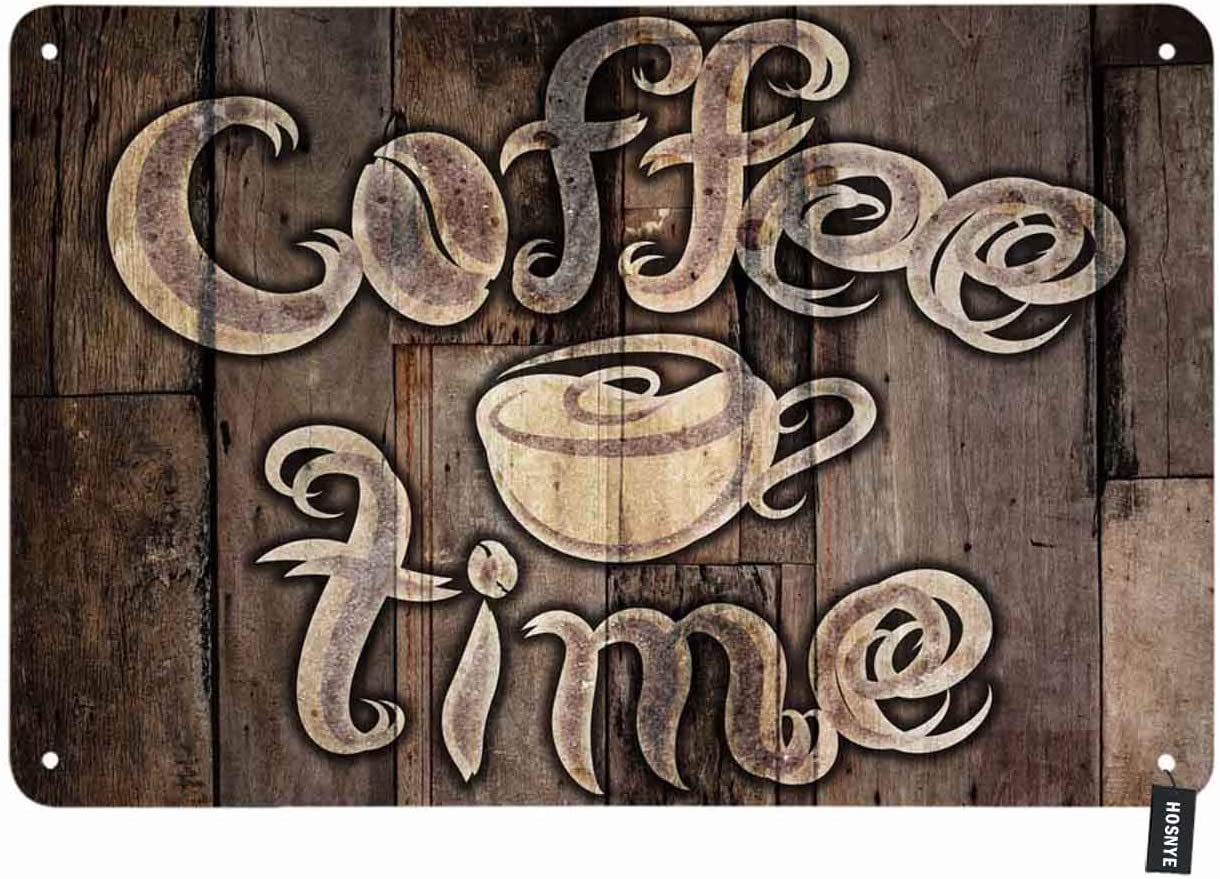 HOSNYE Coffee Time Tin Sign Romb Pattern Phrase with A Cup on A Wooden Grunge Vintage Metal Tin Signs for Men Women Wall Art Decor for Home Bars Clubs Cafes 8x12 Inch