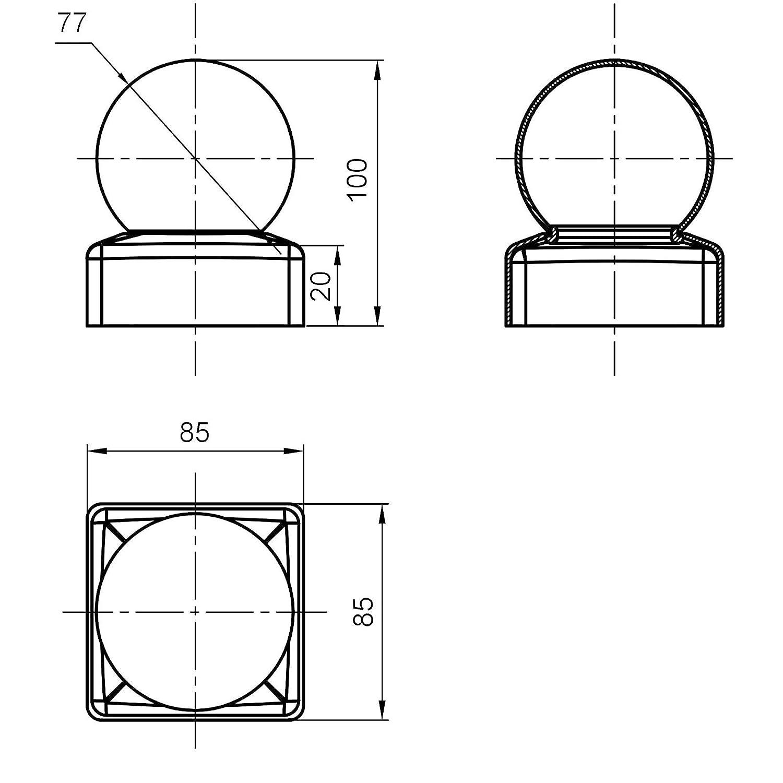 4 x SO-TOOLS/® Pfostenkappe mit Kugel Stahl verzinkt Abdeckkappe f/ür Pfosten 80 x 80 mm
